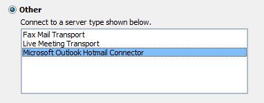 Manually select the Outlook Hotmail Connector to add an Outlook.com account (click on the image for the full dialog).