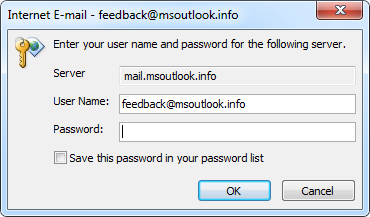 Password not remembered in Outlook XP on Vista/7 - MSOutlook