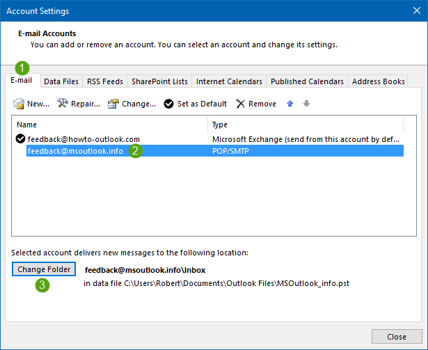 Combine Inbox folders of multiple POP3 accounts in Outlook 2010