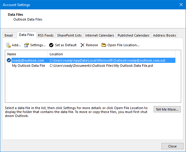Once you've uploaded all your pst-data to Outlook.com, you can remove the file from Outlook.