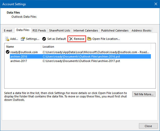 You can remove old archive pst-files from Outlook without actually deleting the data. (click on image to enlarge)