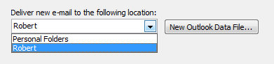 Changing the default delivery location back to your original pst-file in Outlook 2003.