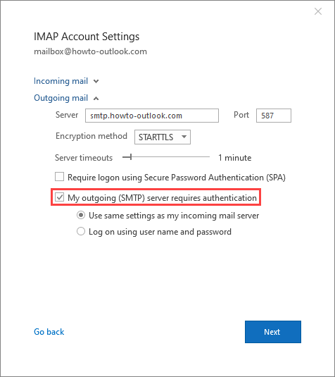 Enable SMTP authentication for Outlook 2016, Outlook 2019 and Microsoft 365.