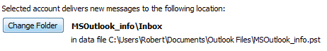 Change the delivery folder for an account in Outlook 2007 and Outlook 2010