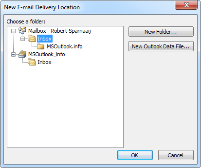 Setting a delivery folder for an account in Outlook 2007 and Outlook 2010