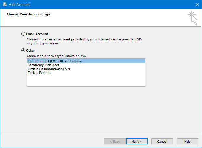 Add Account - Other - Kerio Connect and Zimbra