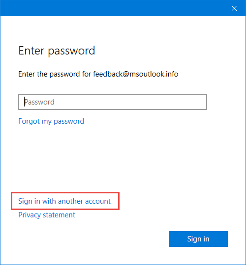 Add Account - Enter Password - Sign in with another account