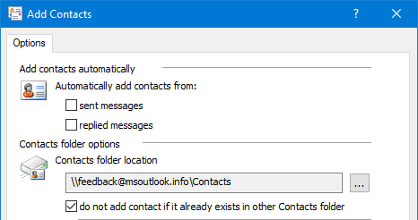 A few of the options of the Add Contacts add-in byMAPILab.