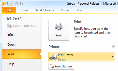 PDF Printers can be selected and used like any other real printer.