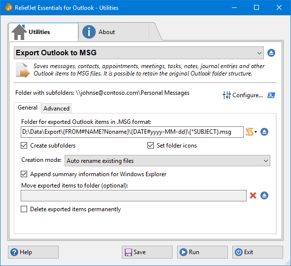 ReliefJet Essentials - Export Outlook to MSG