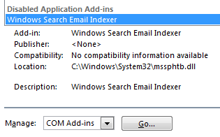 Windows Search Email Indexer is listed under the Disabled Application Add-ins section
