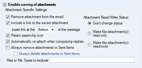 A small selection of the available options in the Attachment Save add-in.