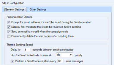 Some of the options in Send Individually by Sperry Software.