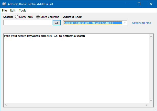 "Search on any field against available in the Global Address List by using the ""More columns"" selection."