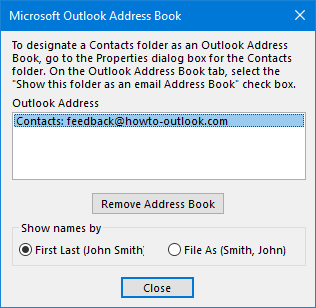 contact sorting order in address book msoutlook info