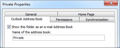Outlook Address Book tab in the Properties dialog of a Contact folder.