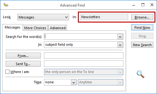 Via Instant Search and Advanced Find, it is possible to locate a folder.