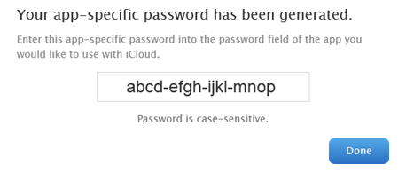 Generated app password for iCloud Two-Step Verification.