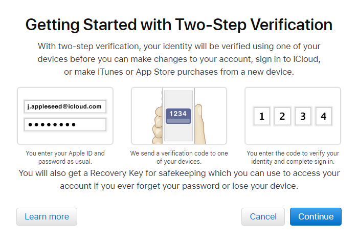 Two-step verification for Apple ID overview