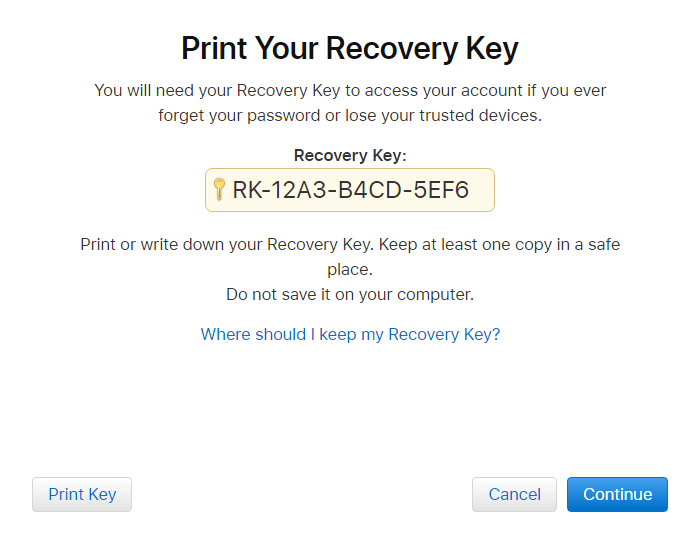 Apple ID - Two-Step Verification - Recovery Key