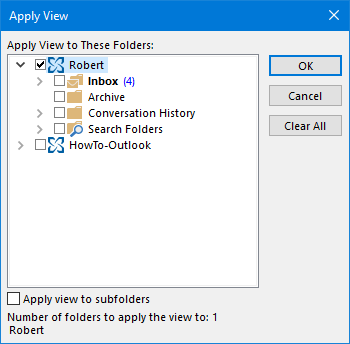 Copying View settings to other folders via the Apply View dialog.