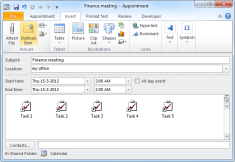 Shortcuts to Outlook Tasks in an Appointment/Meeting can be inserted via Insert-> Outlook Item (click on image to enlarge)