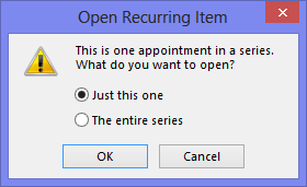 Open Recurring Item - Just this one