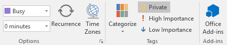 Private tag enabled for a Calendar appointment in Outlook 2016.
