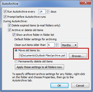 You can lookup the location of your archive file in the AutoArchive options.