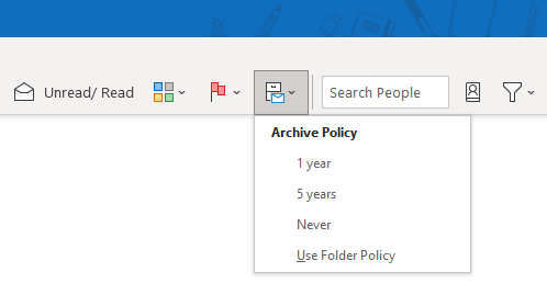 Exchange Online Archive Policy options in the Ribbon.