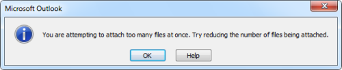 You are attempting to attach too many files at once. Try reducing the number of files being attached. (click on image to enlarge)