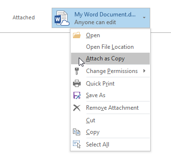 Convert a OneDrive attachment into an actual attachment.