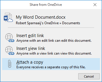 Share from OneDrive dialog when inserting a OneDrive attachment in a Plain Text formatted message.