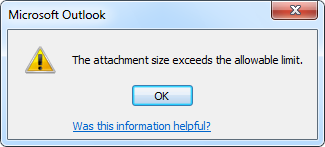The attachment size exceeds the allowable limit.