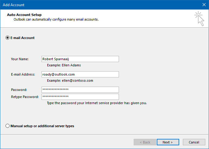 Types Of Email Accounts >> Adding An Outlook Com Account To Outlook Msoutlook Info