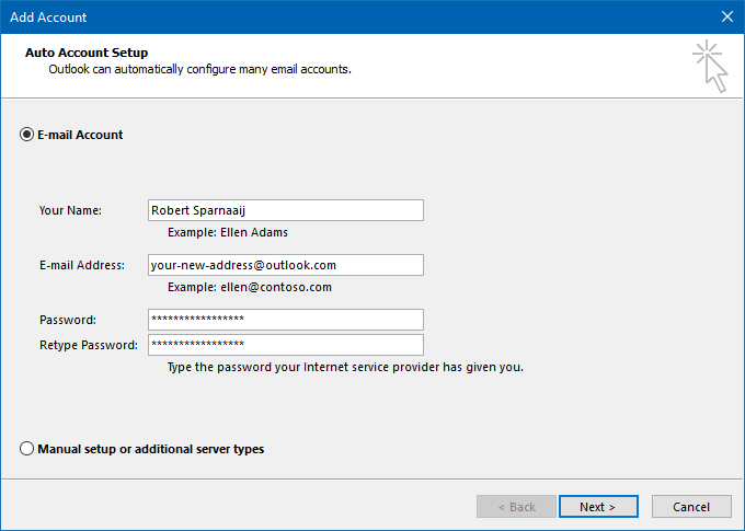 Use Auto Account Setup to configure your Outlook.com account in Outlook.
