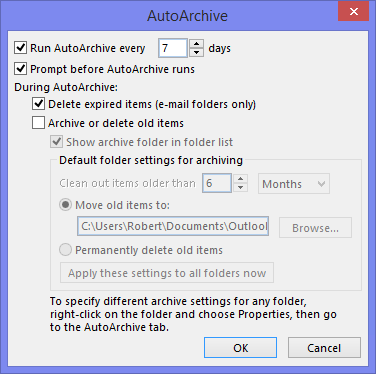 AutoArchive - Delete expired items (e-mail folders only)