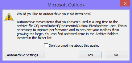 When prompted to turn on AutoArchive, you can safely decline the offer.