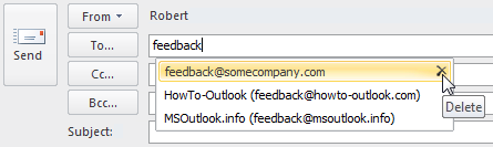 Deleting an address from the Auto-Complete list in Outlook 2010
