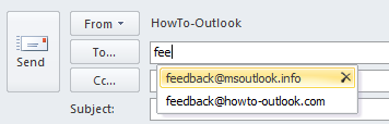 Auto-Complete feature in Outlook 2010.