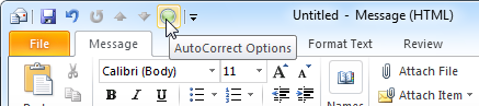Adding the AutoCorrect Options button to the QAT can significantly speed up the configuration of custom emoticons.
