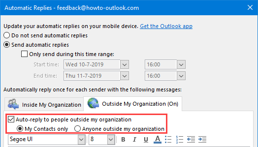 Automatic Replies for Contacts Outside My Organization