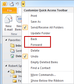 Select Back and Forward from the QAT in Outlook 2010
