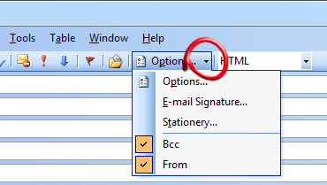 The From and BCC option is a bit hidden in Outlook 2003 and previous with Word as the email editor.