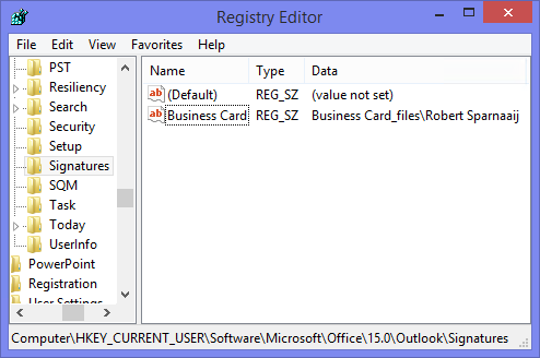 Add a business card to a signature but without the image msoutlook reference to the business card of a signature in the registry reheart Choice Image