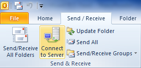 Connect to Server button on the Send/Receive tab in Outlook 2010