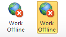 Work Offline button in Outlook 2010