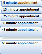 Square blocks in front of appointments in Outlook 2007.