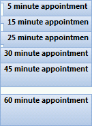 Square blocks in front of appointments in Outlook 2010.