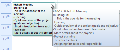 Hovering on the appointment in Outlook 2007 and Outlook 2010 shows more details with AutoPreview turned on.
